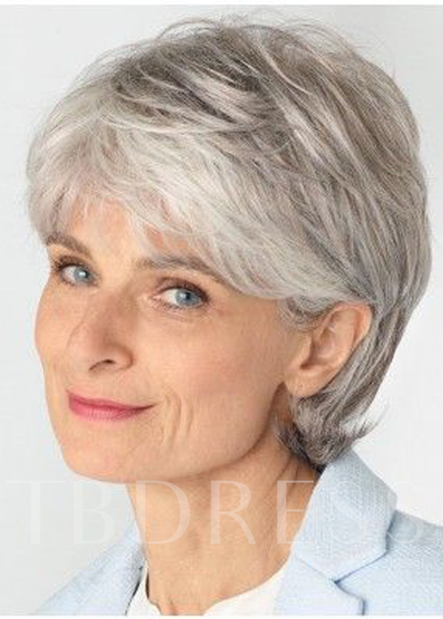 Gray Layered Deeply Wavy Lace Front Wigs Synthetic Hair 10 Inches