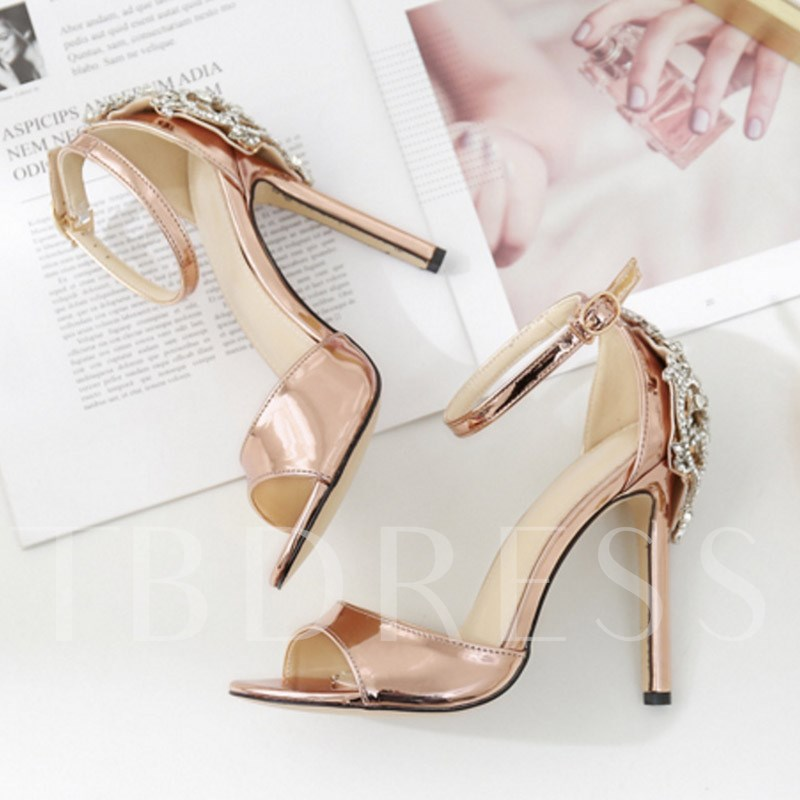 Rhinestone Buckle High Heels Black Sandals Party Shoes for Women
