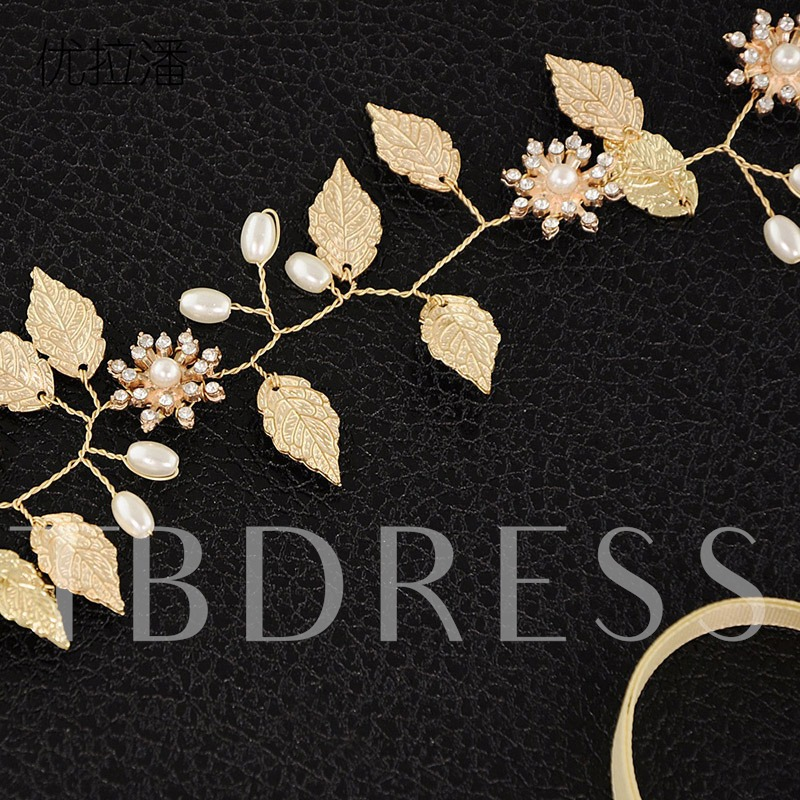 Retro Leaf Shape Sweet Imitation Diamond Belts for Women