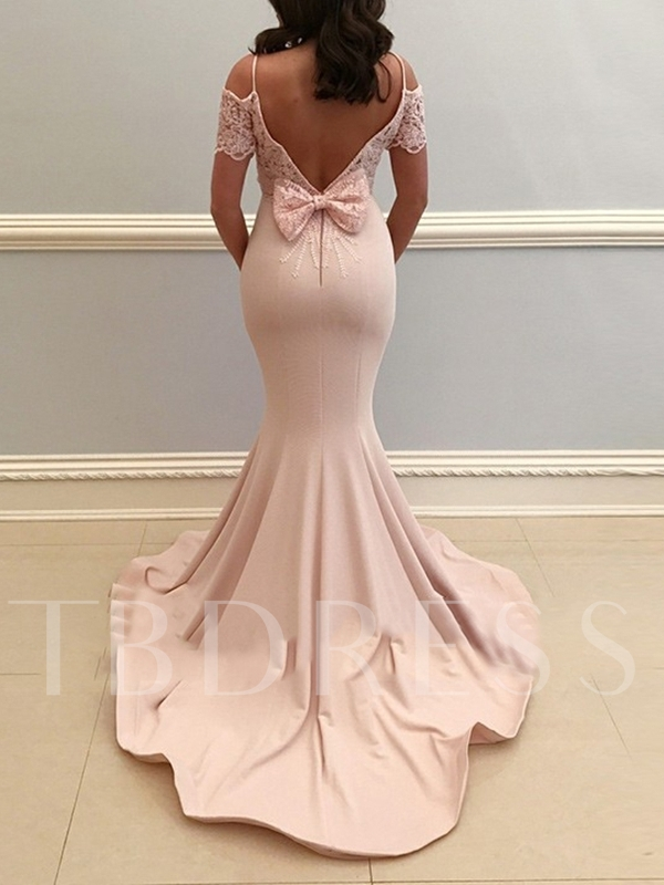 Court Train Floor-Length Trumpet Lace Evening Dress 2019
