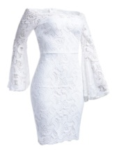 Long Sleeve Hollow Off Shoulder Pullover Women's Lace Dress