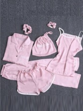 Vintage Plain Women's Pajama Set Seven Pieces