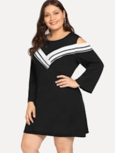 Plus Size Round Neck See-Through Pullover Women's Long Sleeve Dress