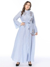 Plus Size Stand Collar Long Sleeve Flare Sleeve Women's Maxi Dress