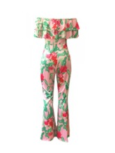 African Fashion Falbala Fashion Floral Full Length Bellbottoms Women's Jumpsuit