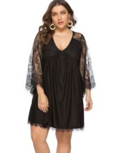 Plus Size See-Through V-Neck Plain Women's Long Sleeve Dress