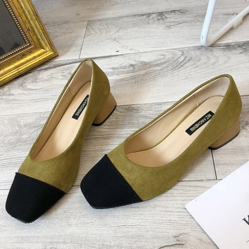 Slip-On Square Toe Chunky Heel Color Block Casual Pumps