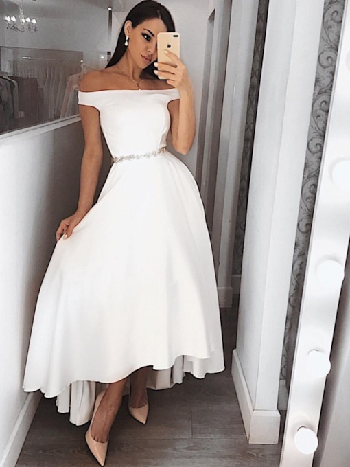 Asymmetry Off-The-Shoulder Beading A-Line Prom Dress 2019