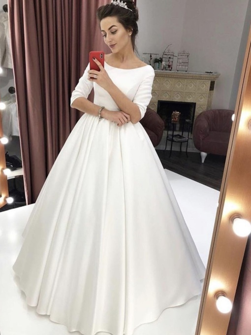 A-Line Floor-Length Half Sleeves Bateau Prom Dress 2019