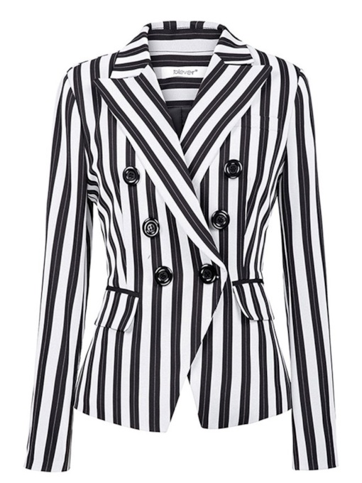 Stripe Double-Breasted Notched Lapel Women's Casual Blazer