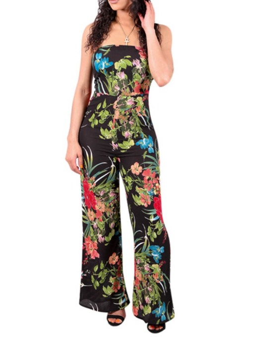 Full Length Backless Plant Sexy Wide Legs Women's Jumpsuit