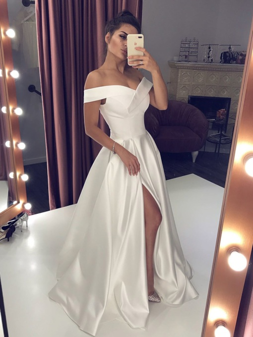 A-Line Split-Front Off-The-Shoulder Prom Dress 2019