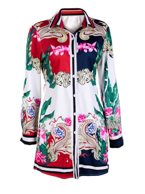 Medal Floral Print Mid-Length Women's Shirt