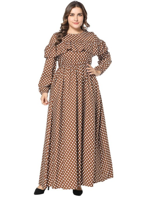 Round Neck Patchwork Lantern Sleeve Women's Maxi Dress