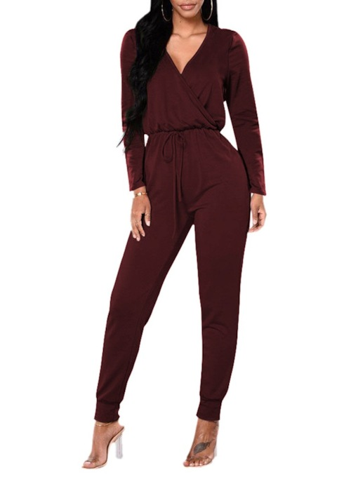 Plain Full Length Casual Pleated Loose Women's Jumpsuit