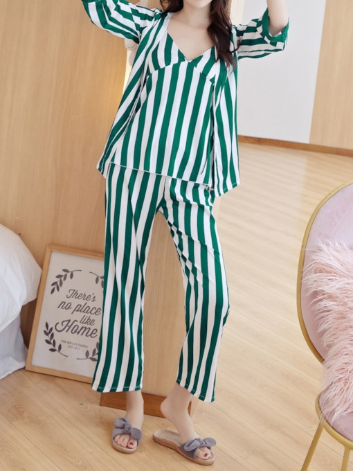 Print Stripe Casual Women's Pajama Set Three Pieces