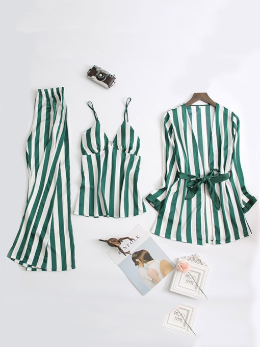 Stripe Casual Women's Pajama Suit Three Pieces