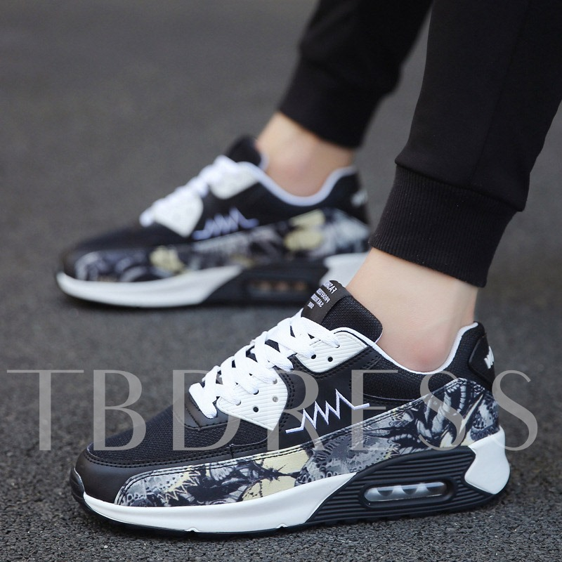 Floral Printed Lace-Up Mesh Men's Running Shoes