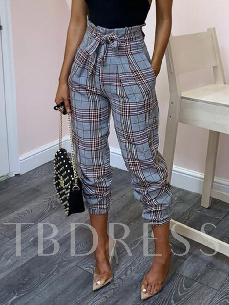Pleated Plaid Loose Ankle Length Women's Casual Pants