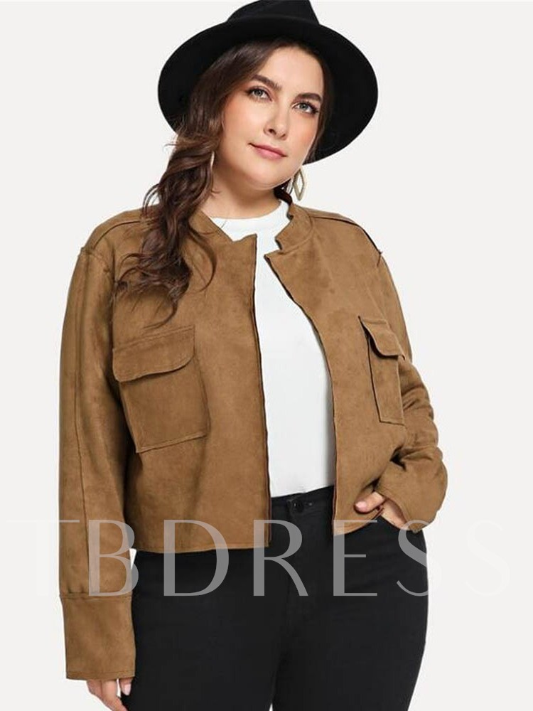 Plain Dual Pockets Suede Plus Size Women's Jacket