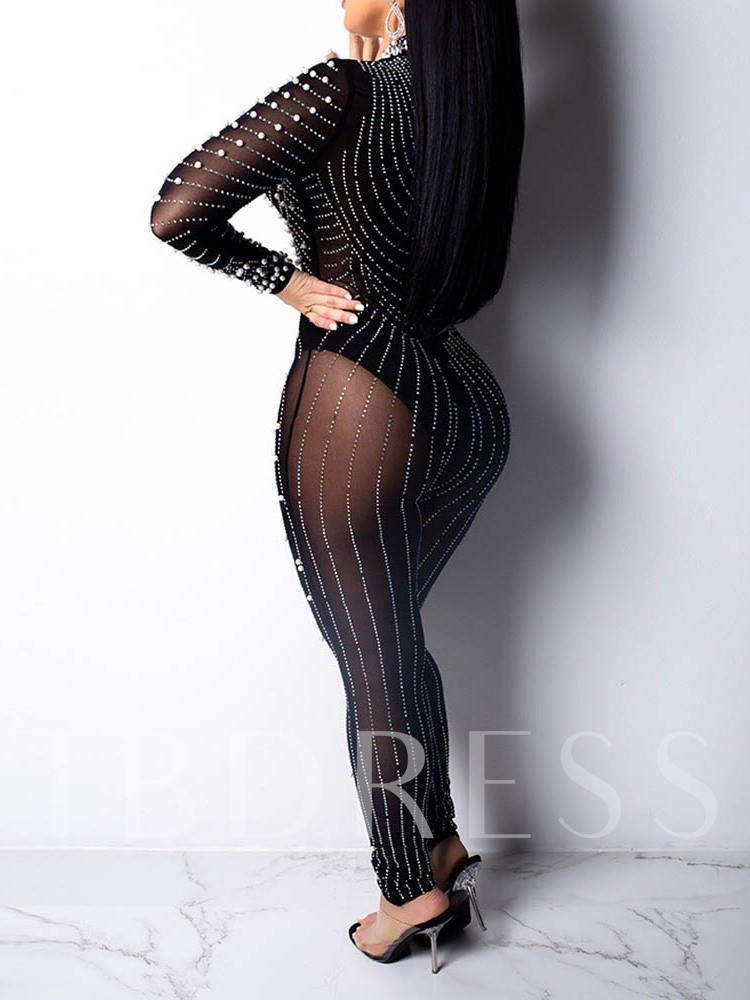 Full Length See-Through Sexy Plain Mid Waist Women's Jumpsuit