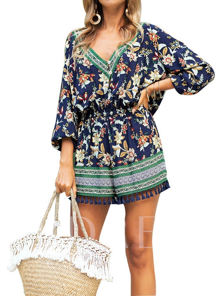 Casual Floral Shorts Print High-Waist Women's Rompers