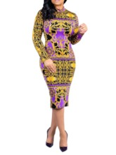 Nine Points Sleeve Print V-Neck Fall Women's Bodycon Dress