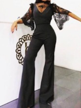 Fashion Full Length Lace Plain Loose Women's Jumpsuit