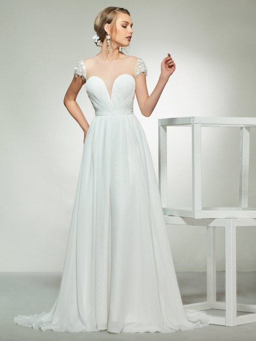 Beading Cap Sleeve A-Line Chiffon Wedding Dress 2019