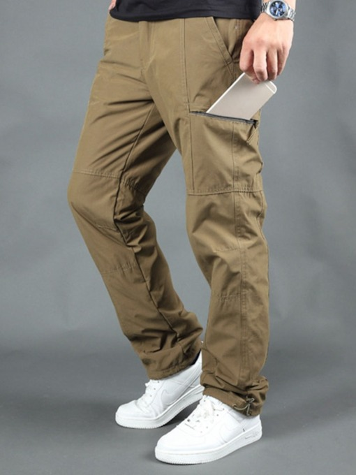 Loose Plain Straight Pocket Men's Casual Pants