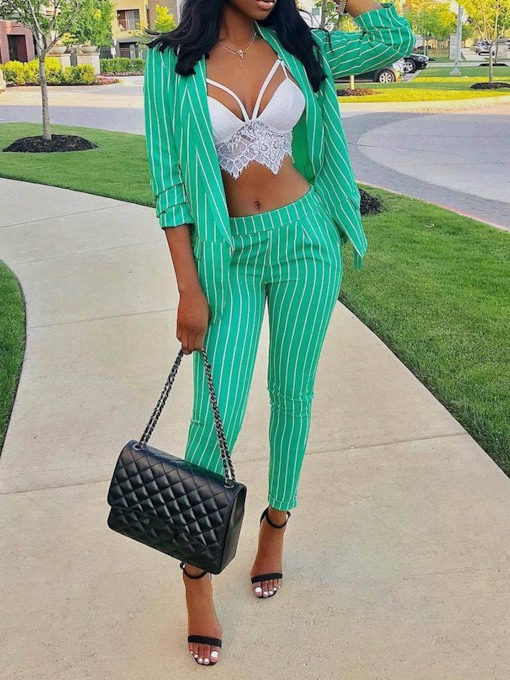 Stripe Notched Lapel Blazer and Pants Women's Two Piece Sets