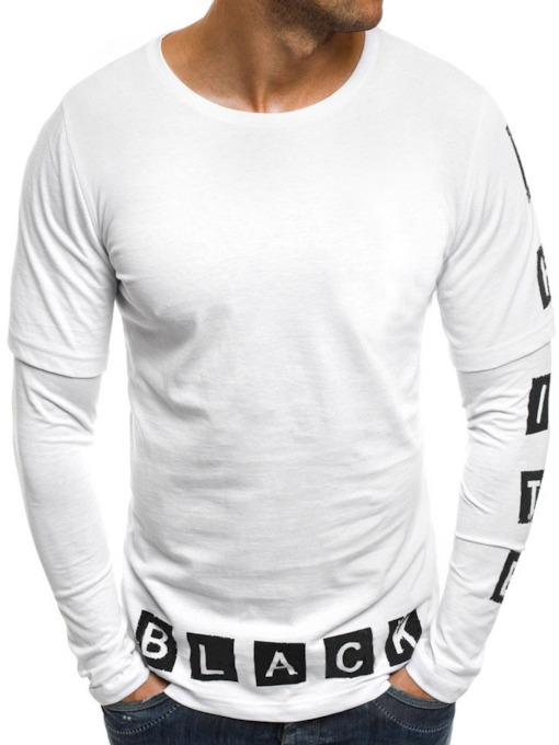 Casual Print Round Neck Letter Long Sleeve Men's T-shirt