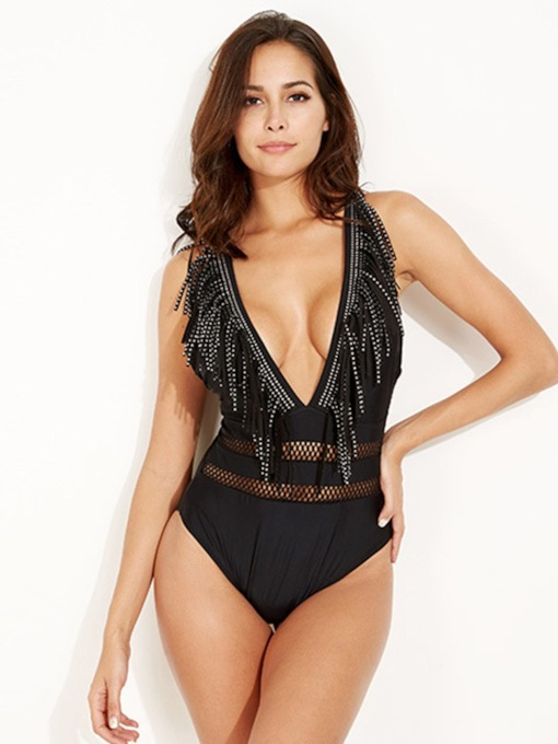 Plain Sexy Tassel One Piece Women's Swimwear