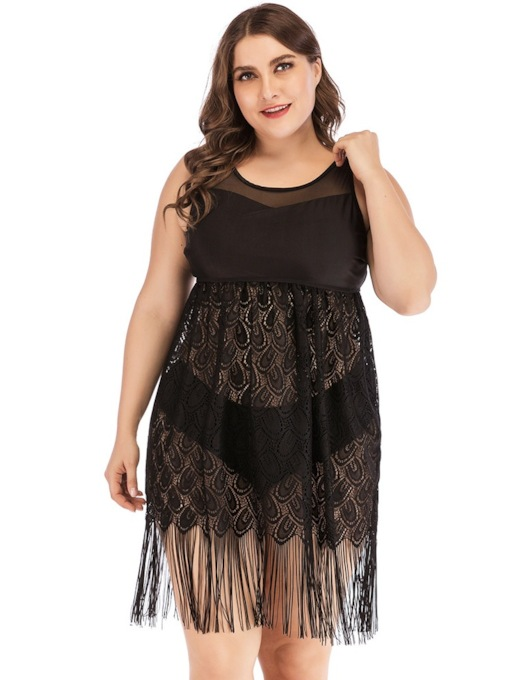 Plus Size Sexy Tankini Set Tassel Plain Women's Swimwear