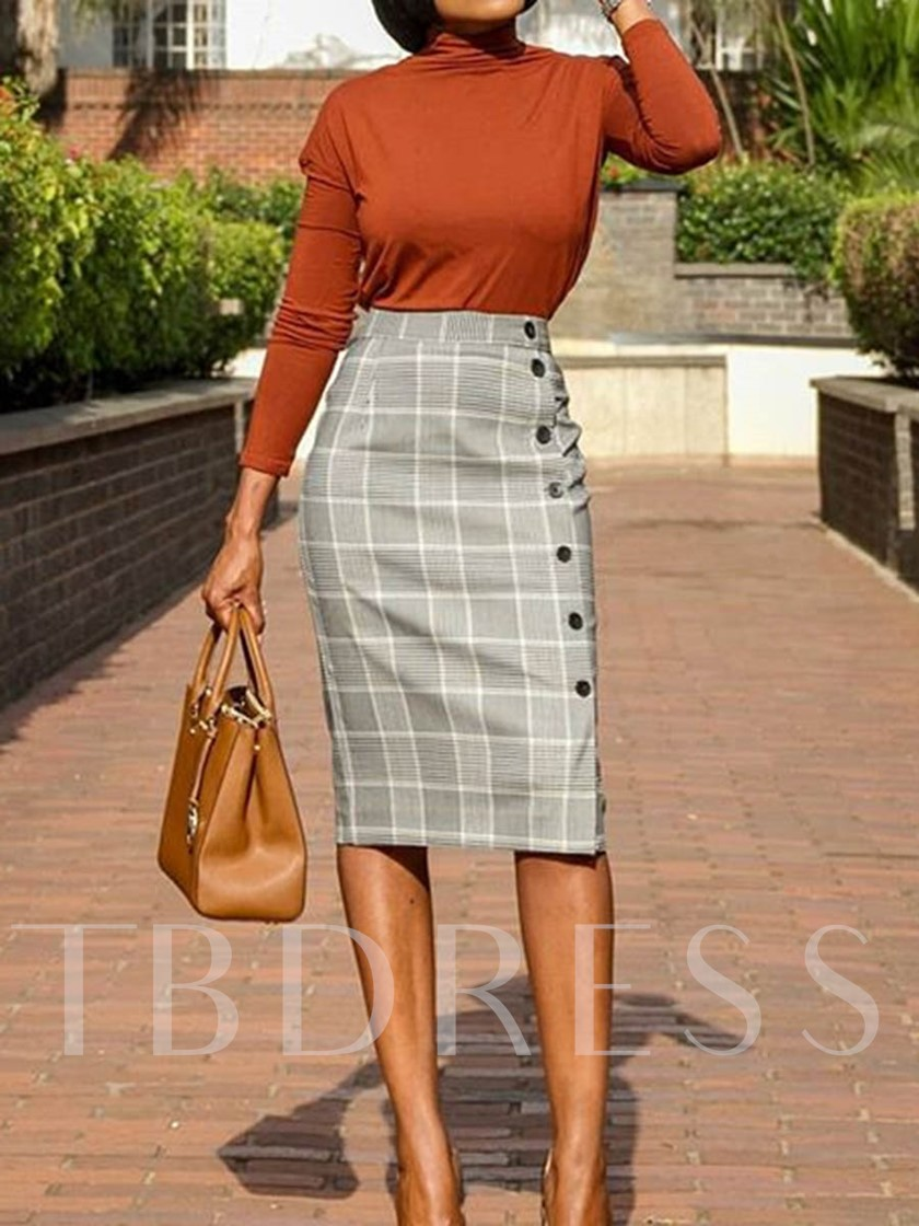 Knee-Length Bodycon Button Plaid High Waist Women's Skirt