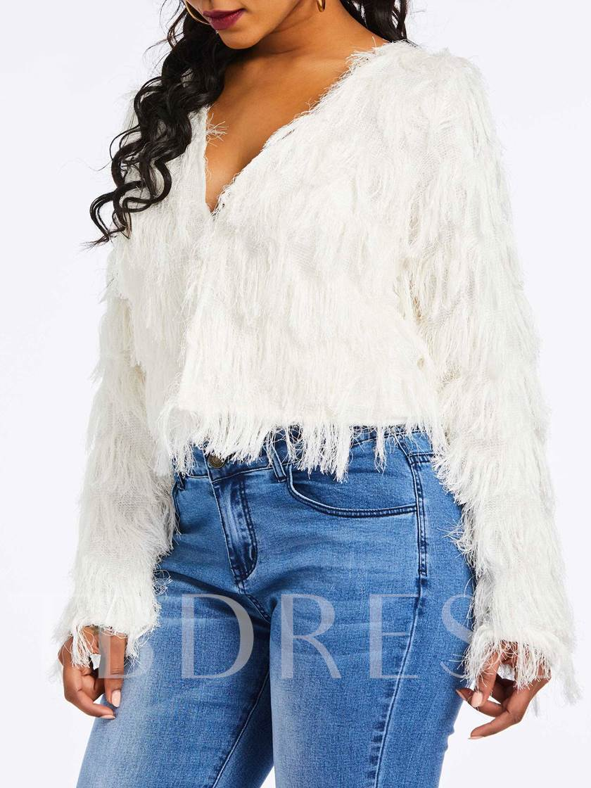 Fringe Patch Tassel Fur Cropped Women's Sweater