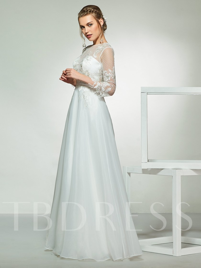 Appliques 3/4 Length Sleeves Button Wedding Dress 2019