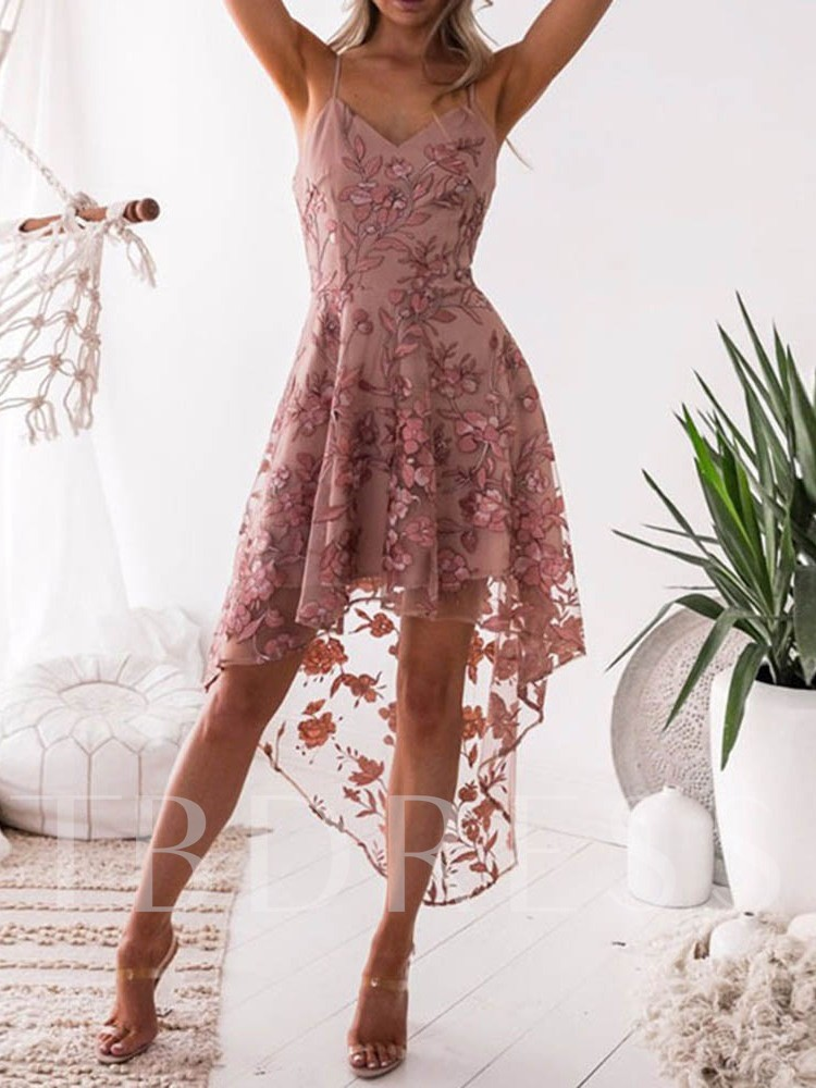 Embroidery Sleeveless Pullover Floral Women's Day Dress