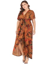 Short Sleeve V-Neck Print A-Line Women's Maxi Dress