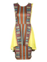 Print Round Neck Sleeveless Color Block Women's Maxi Dress