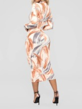 Print Long Sleeve Turtleneck Bodycon Women's Maxi Dress