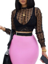 Mesh See-Through Cropped Women's Blouse