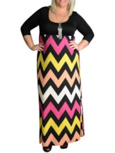 Patchwork Round Neck A-Line Women's Maxi Dress