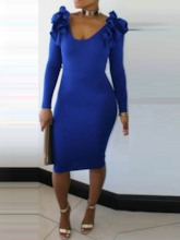 Round Neck Long Sleeve Falbala Women's Bodycon Dress