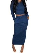 Fashion Plain Skirt Pullover Women's Two Piece Sets