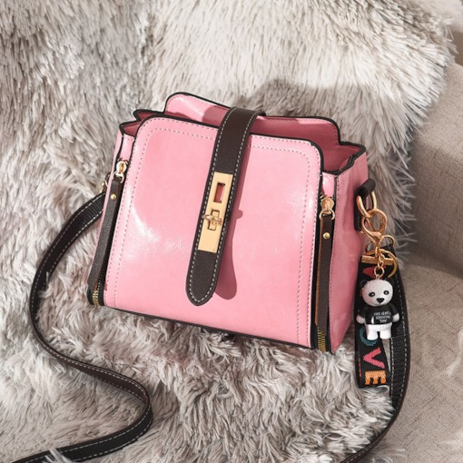 Neon Color PU Plain Lock Shoulder Bag