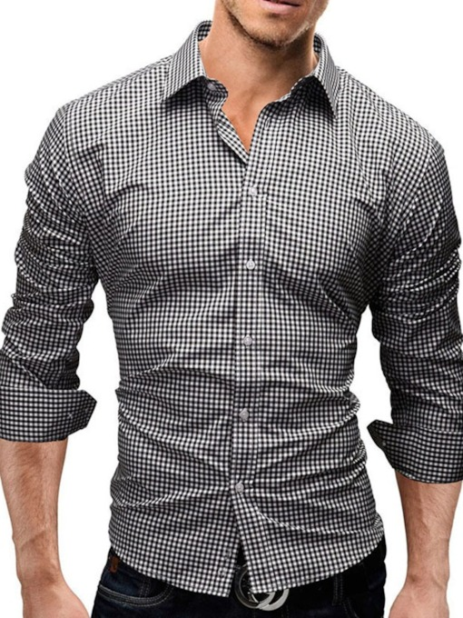Lapel Casual Plaid Single-Breasted Men's Shirt