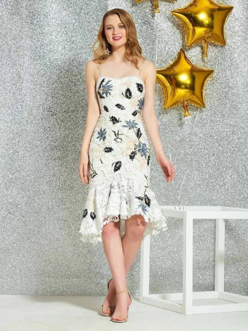 Trumpet Sleeveless Appliques Mini Cocktail Dress 2019