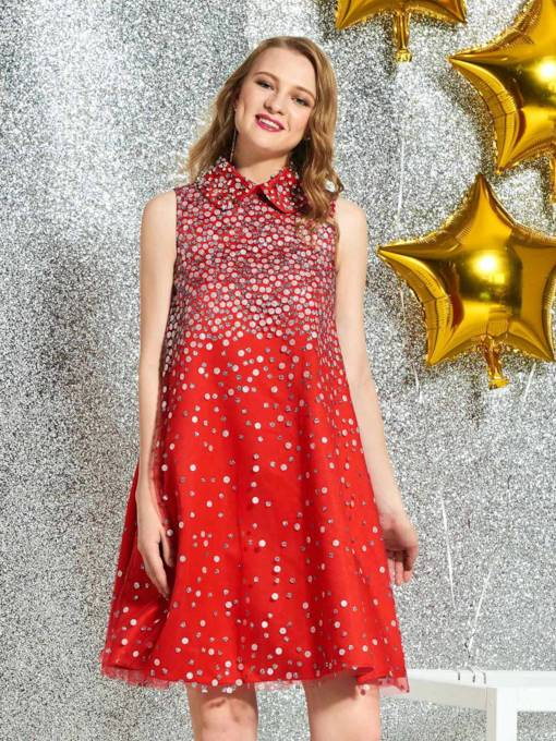 Beading Short A-Line High Neck Cocktail Dress