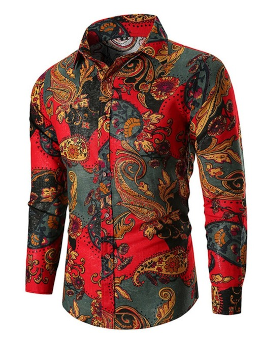 Floral Lapel European Print Single-Breasted Men's Shirt